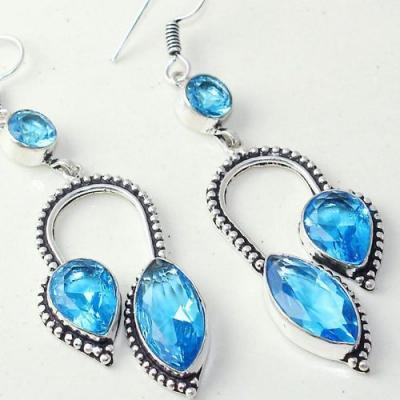 Am 3285c boucles oreilles pendants paire aigue marine bleue bijou achat vente argent 925