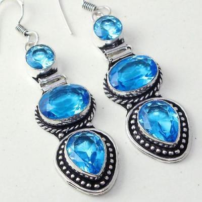 Am 3286b boucles oreilles pendants paire aigue marine bleue bijou achat vente argent 925
