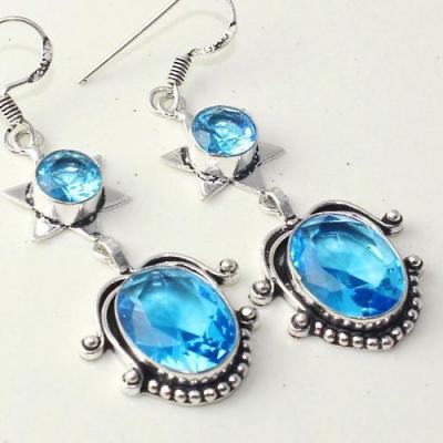 Am 3287c boucles oreilles pendants paire aigue marine bleue bijou achat vente argent 925