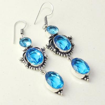 Am 3288a boucles oreilles pendants paire aigue marine bleue bijou achat vente argent 925