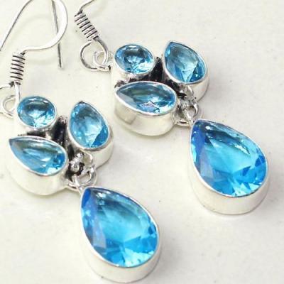 Am 3289c boucles oreilles pendants paire aigue marine bleue bijou achat vente argent 925