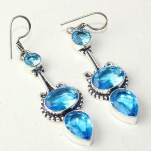 Am 3290a boucles oreilles pendants paire aigue marine bleue bijou achat vente argent 925