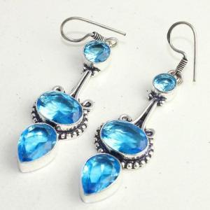 Am 3290b boucles oreilles pendants paire aigue marine bleue bijou achat vente argent 925