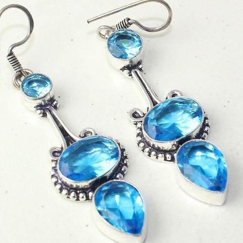 Am 3290c boucles oreilles pendants paire aigue marine bleue bijou achat vente argent 925