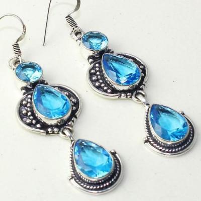 Am 3291c boucles oreilles pendants paire aigue marine bleue bijou achat vente argent 925