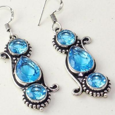 Am 3295b boucles oreilles pendants paire aigue marine bleue bijou achat vente argent 925