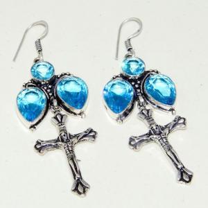 Am 3298a boucles oreilles pendants croix aigue marine bleue achat vente argent 925