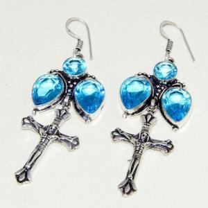 Am 3298b boucles oreilles pendants croix aigue marine bleue achat vente argent 925