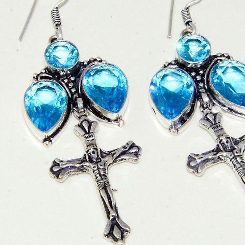 Am 3298c boucles oreilles pendants croix aigue marine bleue achat vente argent 925