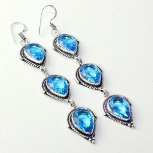 Am 3301a boucles oreilles pendants paire aigue marine bleue bijou achat vente argent 926