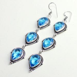 Am 3301b boucles oreilles pendants paire aigue marine bleue bijou achat vente argent 926