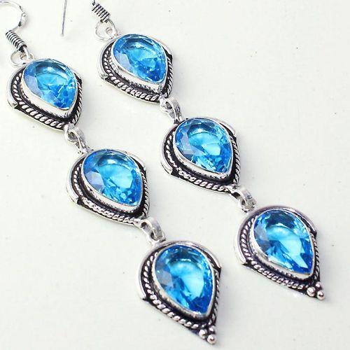 Am 3301c boucles oreilles pendants paire aigue marine bleue bijou achat vente argent 926