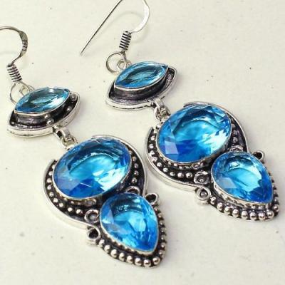 Am 3303c boucles oreilles pendants paire aigue marine bleue bijou achat vente argent 925