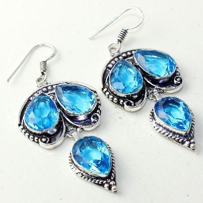 Am 3304a boucles oreilles pendants paire aigue marine bleue bijou achat vente argent 925 1