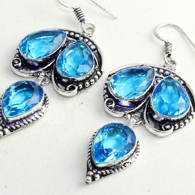 Am 3304b boucles oreilles pendants paire aigue marine bleue bijou achat vente argent 925 1