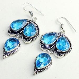 Am 3304c boucles oreilles pendants paire aigue marine bleue bijou achat vente argent 925 1