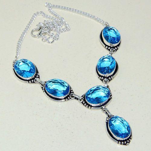 Am 3305a collier sautoir parure aigue marine bleue 30gr bijou achat vente argent 925