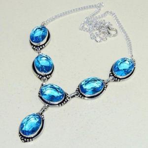 Am 3305d collier sautoir parure aigue marine bleue 30gr bijou achat vente argent 925