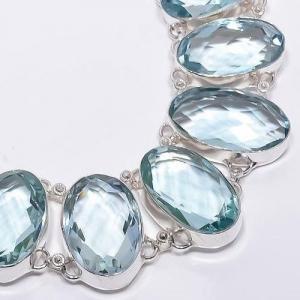 Am 3326c collier sautoir parure aigue marine bleue 120gr 18x28mm bijou achat vente argent 925
