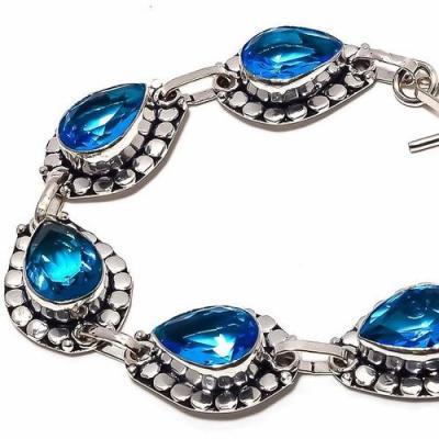 Am 3334c bracelet aigue marine bleue 21gr 10x15mm bijou achat vente argent 925