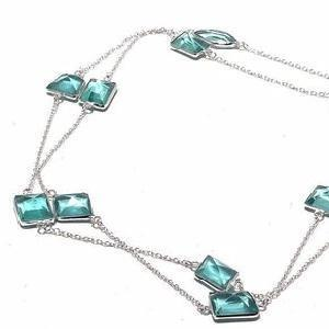 Am 3346c collier sautoir aigue marine bleue 24gr 15x15mm bijou achat vente argent 925
