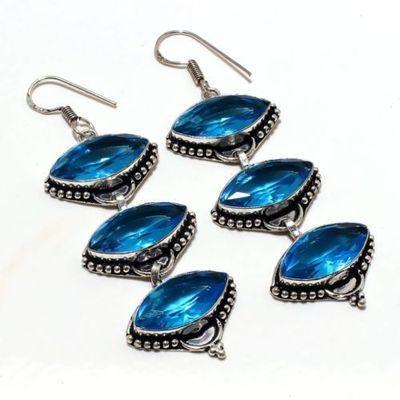 Am 3356a boucles oreilles aigue marine bleue 21gr 10x20mm bijou achat vente argent 925