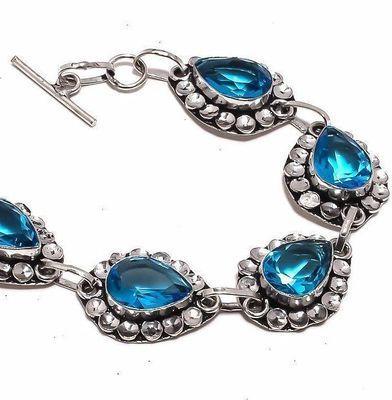 Am 3359b bracelet aigue marine bleue 19gr 10x15mm bijou achat vente argent 925