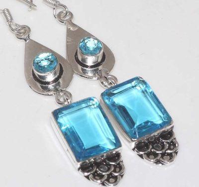 Am 3362c boucles oreilles aigue marine bleue 12gr 12x16mm bijou achat vente argent 925