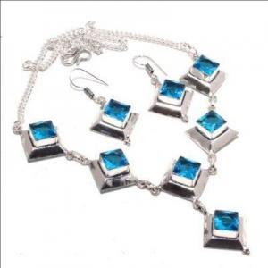 Am 3370a collier boucles oreilles aigue marine bleue 26gr bijou achat vente argent 925