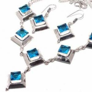 Am 3370b collier boucles oreilles aigue marine bleue 26gr bijou achat vente argent 925