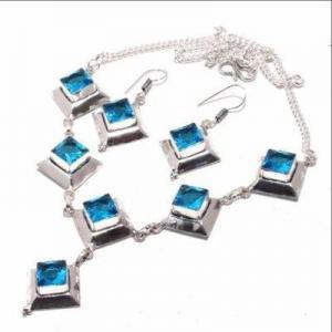 Am 3370d collier boucles oreilles aigue marine bleue 26gr bijou achat vente argent 925