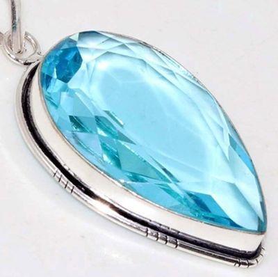 Am 3378c pendentif pendant aigue marine bleue 19gr 25x45mm bijou achat vente argent 926