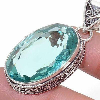 Am 3389c pendentif pendant aigue marine bleue 16gr 18x28mm bijou achat vente argent 925 1 2