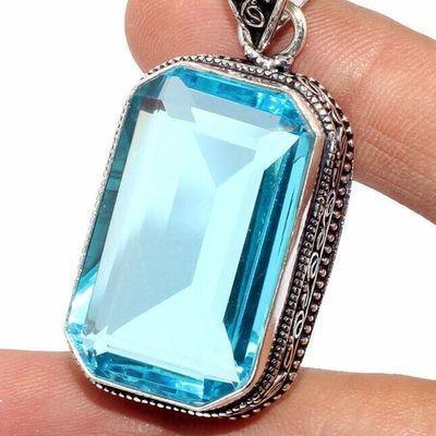 Am 3390c pendentif pendant aigue marine bleue 20gr 20x33mm bijou achat vente argent 925 1 1