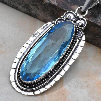 Am 3393c pendentif pendant aigue marine bleue 14gr 14x40mm bijou achat vente argent 925 1 1