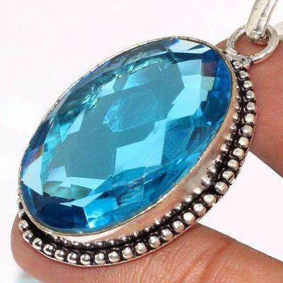 Am 3394c pendentif pendant aigue marine bleue 14gr 20x30mm bijou achat vente argent 925 1 1