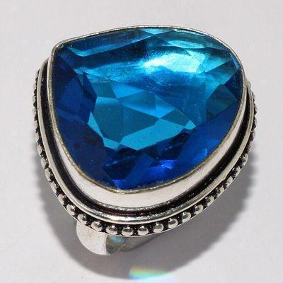 Am 3395a bague chevaliere aigue marine coeur t57 bleue 12gr 25x25mm bijou achat vente argent 925 1 1
