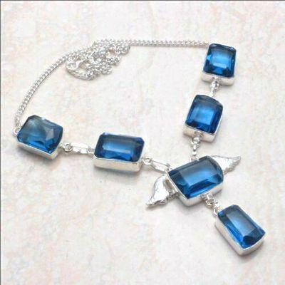 Am 3396a collier parure aigue marine bleue 12x18mm 30gr bijou achat vente argent 925 1 1