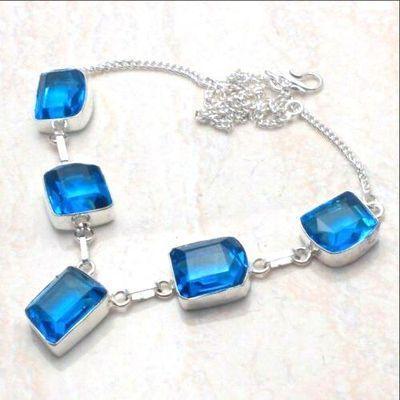 Am 3397d collier parure aigue marine 12x18mm 29gr bleue bijou achat vente argent 925 1 1