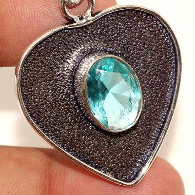 Am 3399c pendentif pendant coeur aigue marine 6gr bleue bijou achat vente argent 925