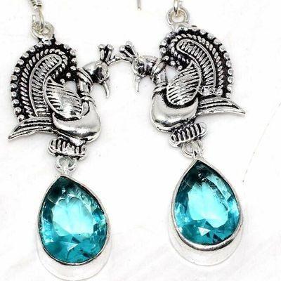 Am 3400c boucles oreilles aigue marine 9gr bleue 10x15mm bijou achat vente argent 925