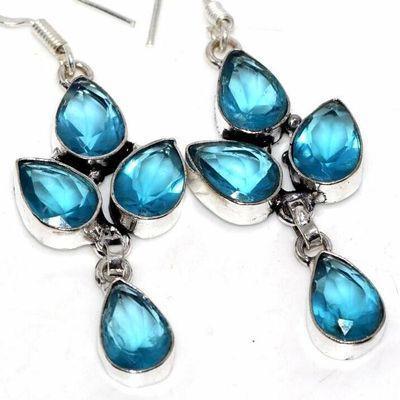 Am 3401c boucles oreilles aigue marine 9gr bleue 10x15mm bijou achat vente argent 925