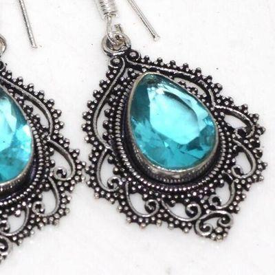 Am 3407c boucles oreilles pendants aigue marine 10gr bleue 10x15mm bijou 1900 vente argent 925