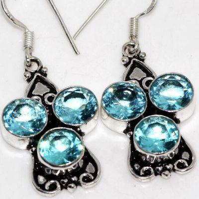 Am 3408c boucles oreilles pendants aigue marine 9gr bleue 8mm bijou 1900 vente argent 925