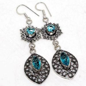 Am 3413a boucles oreilles pendants aigue marine 8gr bleue 6x10mm bijou 1900 vente argent 925