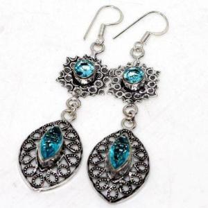 Am 3413b boucles oreilles pendants aigue marine 8gr bleue 6x10mm bijou 1900 vente argent 925