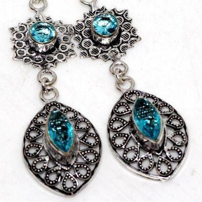 Am 3413c boucles oreilles pendants aigue marine 8gr bleue 6x10mm bijou 1900 vente argent 925