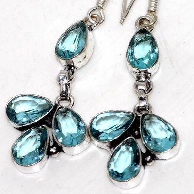 Am 3415c boucles oreilles pendants 50mm aigue marine 8gr bleue 8x6mm bijou 1900 vente argent 925