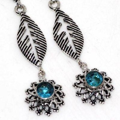 Am 3421b boucles oreilles pendants 50mm aigue marine 6gr bleue 8mm bijou 1900 vente argent 925