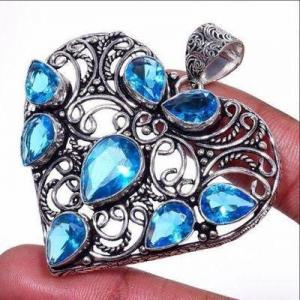 Am 3432a pendentif coeur pendants 60mm 8xaigue marine 17gr bleue bijou porte bonheur 1900 vente argent 925